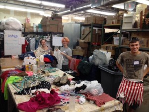 Mission Trip Sorting Donated Clothes